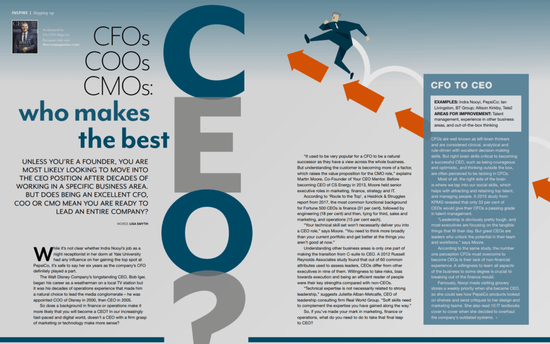 CFOs, COOs, CMOs – who makes the best CEO?